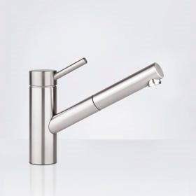 KWC Inox single lever kitchen mixer with pull-out spout
