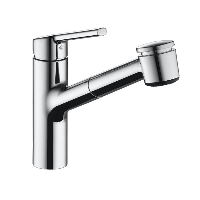 KWC Luna-E single lever kitchen mixer with pull-out spray chrome