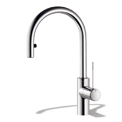 KWC Ono single lever kitchen mixer with pull-out spout stainless steel