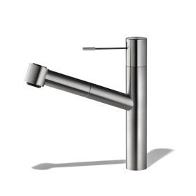KWC Ono single lever kitchen mixer with pull-out spray stainless steel