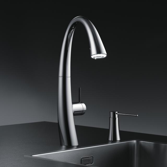 KWC Zoe kitchen fitting with LUMINAQUA® LED technology chrome
