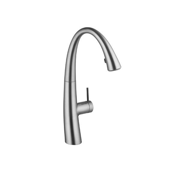 KWC Zoe single-lever kitchen mixer with pull-out spray decor steel
