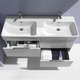 Laufen Base pour Pro S Meuble sous-lavabo pour lavabo double avec 4 tiroirs Façade blanc brillant/corps du meuble blanc brillant