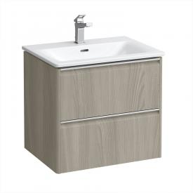 Laufen Palace washbasin with Base vanity unit with 2 pull-out compartments front light elm / corpus light elm, handle strip silver anodised