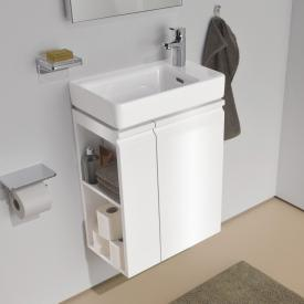 Laufen Pro S hand washbasin with vanity unit with 1 door front white gloss / corpus white gloss, with Clean Coat, with 1 tap hole
