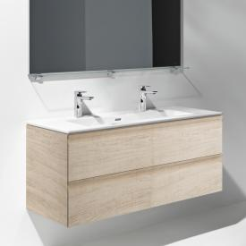Laufen Pro S washbasin and vanity unit with 2 pull-out compartments front light oak / corpus light oak, with 2 tap holes