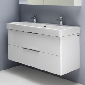 Laufen Pro S washbasin with vanity unit with 2 pull-out compartments white, with Clean Coat, with 2 tap holes, with overflow