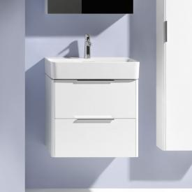 Laufen Pro S washbasin with vanity unit with 2 pull-out compartments white, with Clean Coat, with 1 tap hole, with overflow