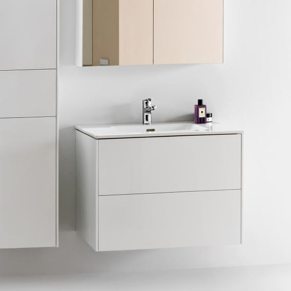 Laufen Pro S washbasin with Base vanity unit with 2 pull-out compartments front white gloss / corpus white gloss, 1 tap hole