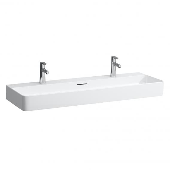 Laufen VAL double washbasin white, with CleanCoat, with 2 tap holes, ungrounded, with overflow