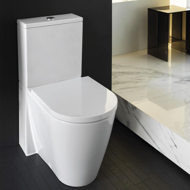 Kartell by LAUFEN close-coupled, floorstanding washdown toilet, rimless white