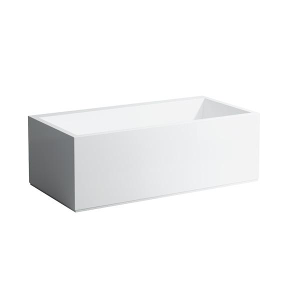 Kartell by LAUFEN rectangular bath with panelling and LED lighting