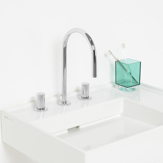 Kartell by LAUFEN three hole basin fitting chrome, with pop-up waste set