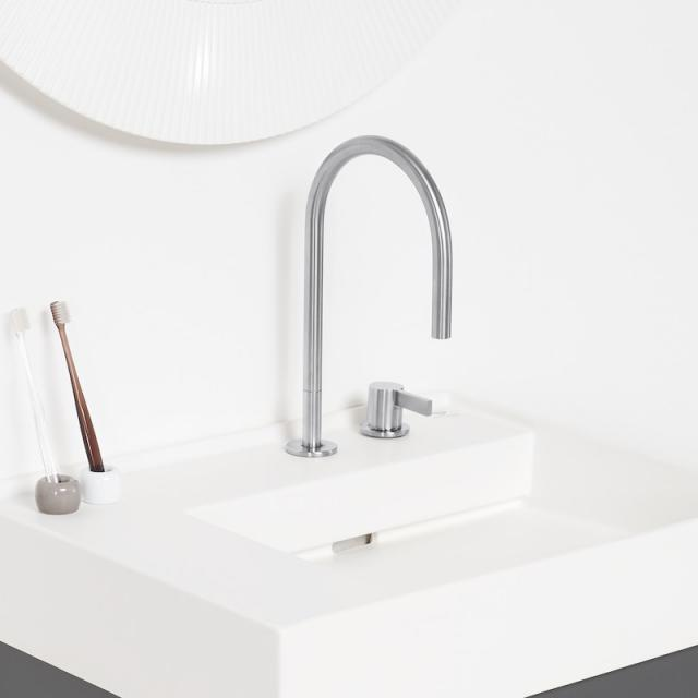Kartell by LAUFEN two hole single lever basin fitting without waste set brushed stainless steel, without waste set