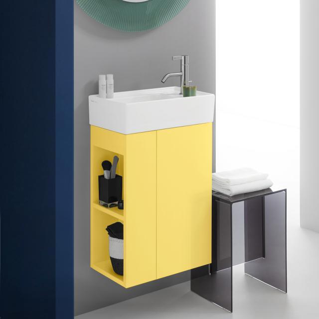 Kartell by LAUFEN vanity unit for hand washbasin with 1 door front mustard yellow / corpus mustard yellow