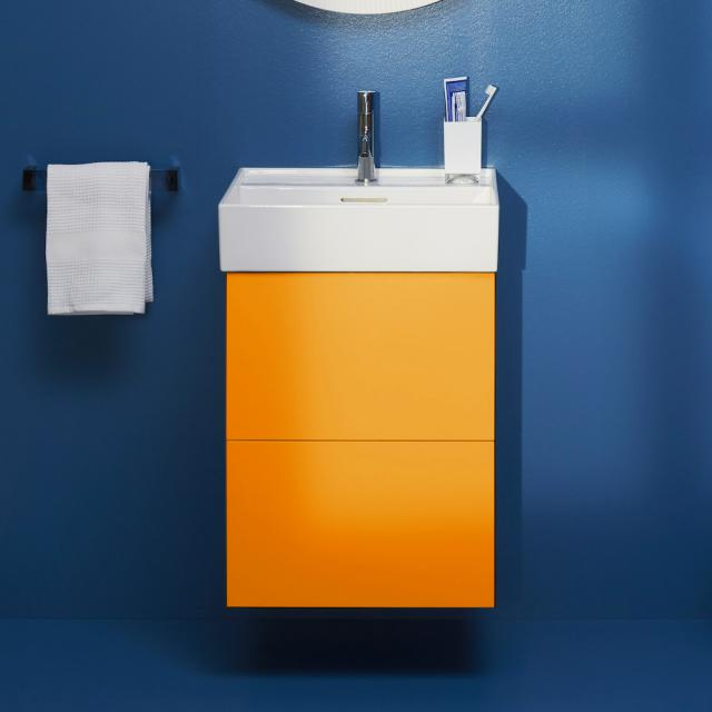 Kartell by LAUFEN vanity unit for hand washbasin with 2 pull-out compartments front ochre brown / corpus ochre brown