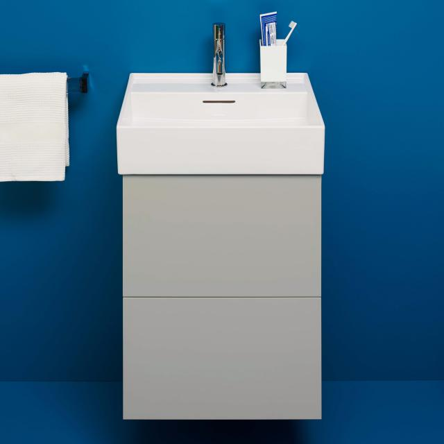 Kartell by LAUFEN vanity unit for hand washbasin with 2 pull-out compartments front pebble grey / corpus pebble grey