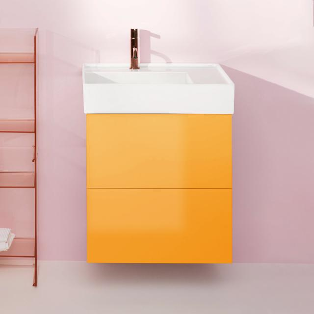 Kartell by LAUFEN vanity unit with 2 pull-out compartments front ochre brown / corpus ochre brown