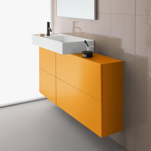 Kartell by LAUFEN vanity unit with sideboard, 1 door and 2 hatch doors front ochre brown / corpus ochre brown, basin left