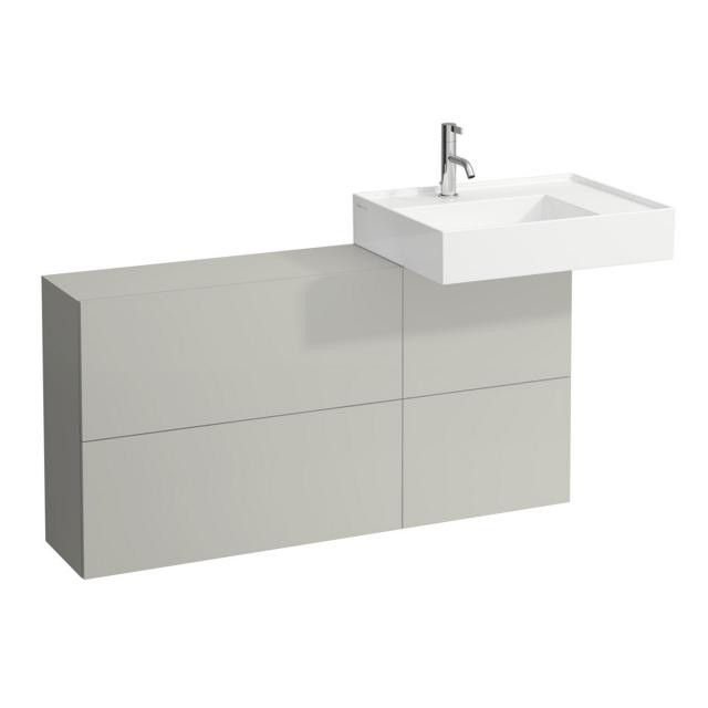 Kartell by LAUFEN vanity unit with sideboard, 1 door and 2 hatch doors front pebble grey / corpus pebble grey, basin right