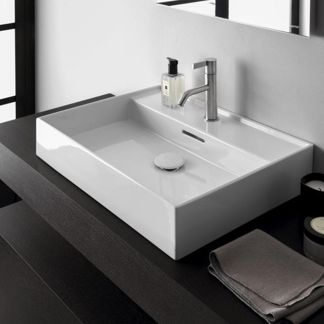 Kartell by LAUFEN washbasin white, with CleanCoat (LCC), with 1 tap hole, grounded