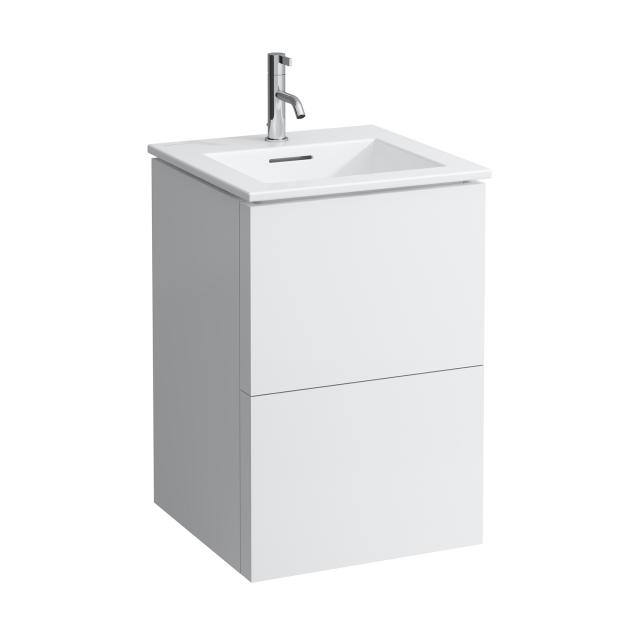 Kartell by LAUFEN washbasin with vanity unit with 2 pull-out compartments front matt white / corpus matt white
