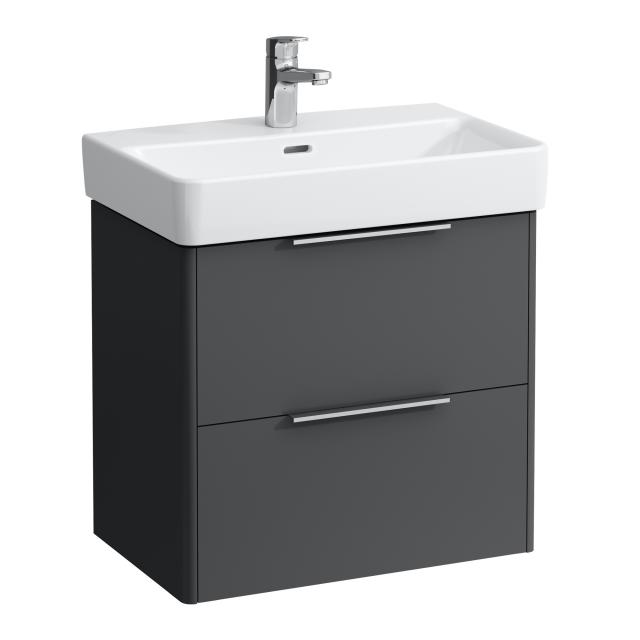 LAUFEN Base for Pro S vanity unit with 2 pull-out compartments front traffic grey / corpus traffic grey