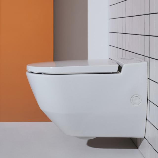 Laufen Cleanet Navia complete shower toilet set, with opening on the side for external water connection, with toilet seat white, with Clean Coat