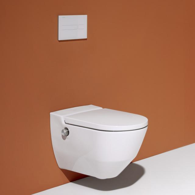 LAUFEN Cleanet Navia complete shower toilet set with toilet seat white, with Clean Coat