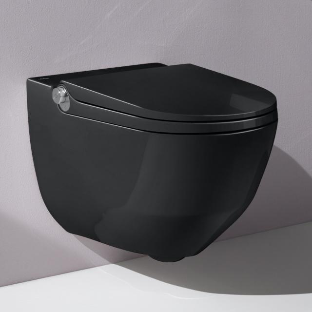 LAUFEN Cleanet Riva complete shower toilet set with toilet seat black