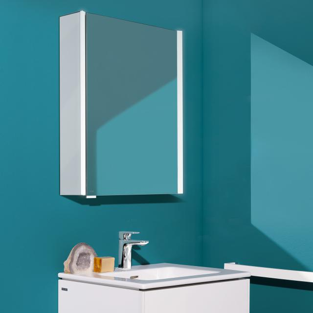 LAUFEN frame 25 mirror cabinet with LED lighting white high gloss sides