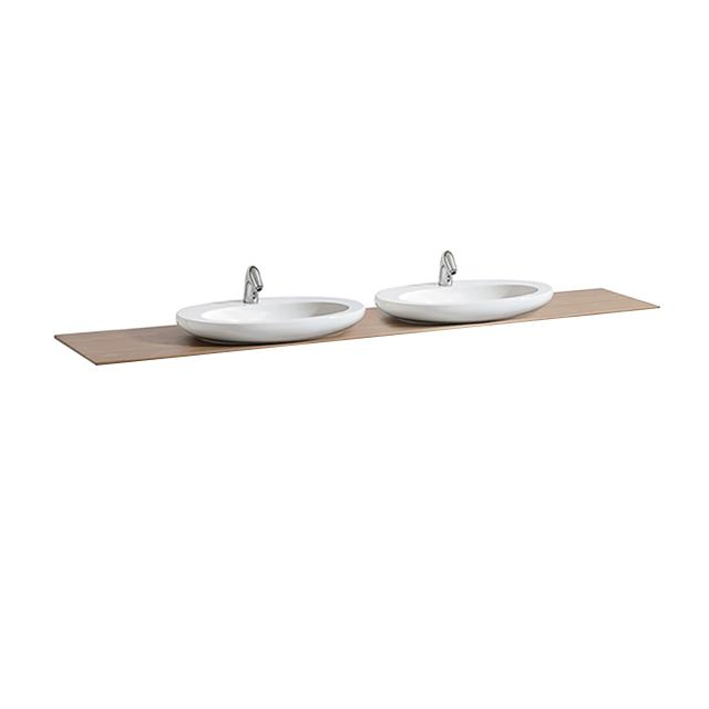 Laufen IL BAGNO ALESSI One countertop with two cut-outs basin cut-outs centre, noce canaletto