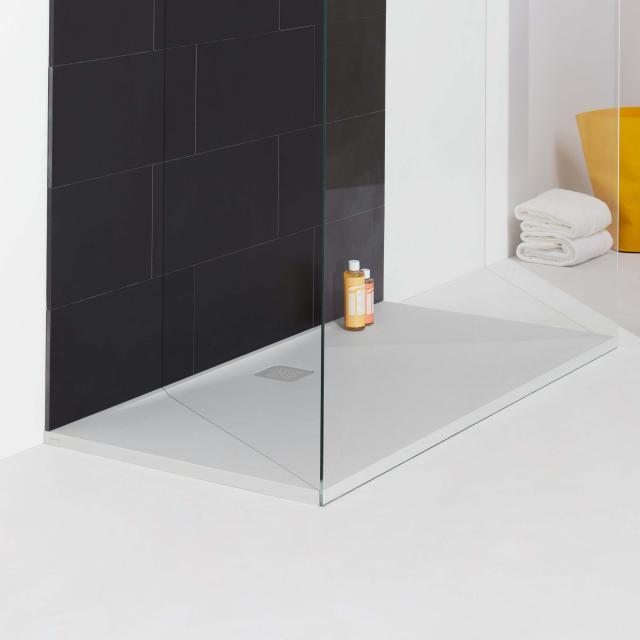 LAUFEN PRO rectangular shower tray, drain on the long side matt white