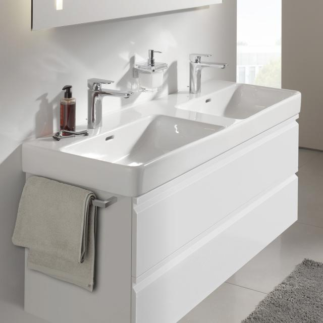 LAUFEN Pro S double washbasin white, with CleanCoat, with 2 tap holes, with overflow