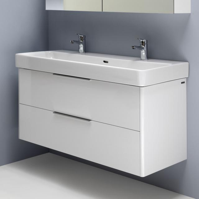 LAUFEN Pro S double washbasin with Base vanity unit with 2 pull-out compartments front white gloss / corpus white gloss, WB white, with Clean Coat