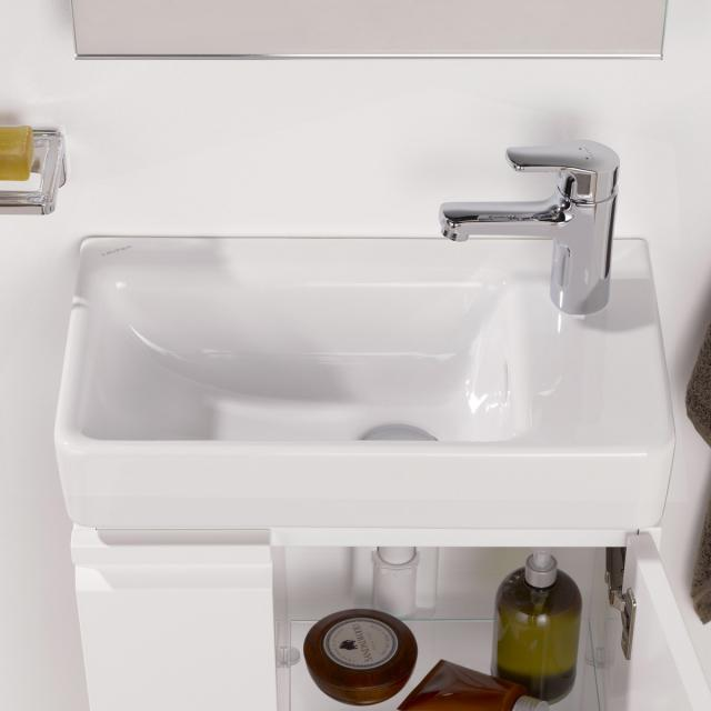 LAUFEN Pro S hand washbasin, asymmetrical white, with CleanCoat, with 1 tap hole
