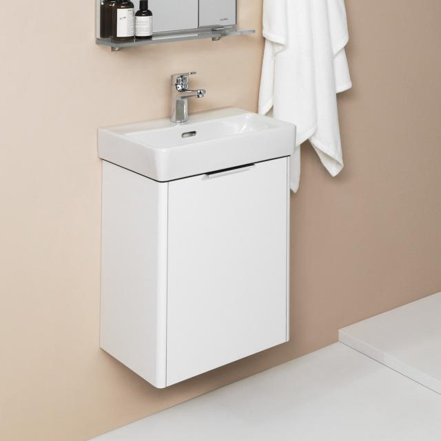 LAUFEN Pro S hand washbasin with Base vanity unit with 1 door front white gloss / corpus white gloss, WB white, with Clean Coat, with 1 tap hole, with overflow