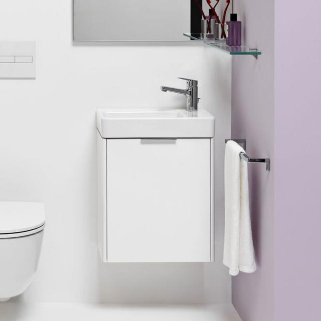 LAUFEN Pro S hand washbasin with Base vanity unit with 1 door front white gloss / corpus white gloss, WB white, with Clean Coat, with 1 tap hole