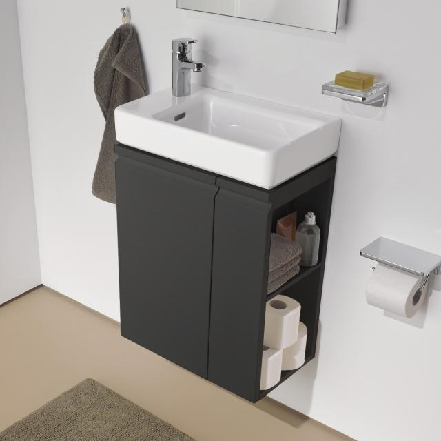 LAUFEN Pro S vanity unit for hand washbasin with 1 door and side shelf front graphite / corpus graphite
