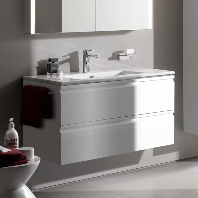 LAUFEN Pro S washbasin and vanity unit with 2 pull-out compartments front white gloss / corpus white gloss, with 1 tap hole