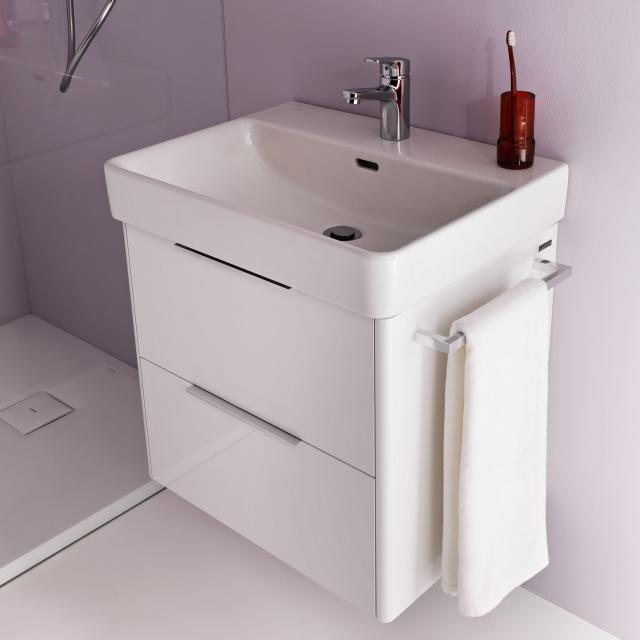 Laufen Pro S washbasin with vanity unit with 2 pull-out compartments front white gloss / corpus white gloss, WB white, with Clean Coat, with 1 tap hole, with overflow