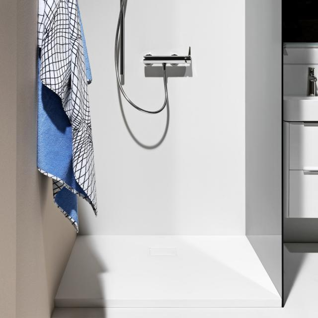 LAUFEN Solutions Marbond shower tray, drain on the side matt white
