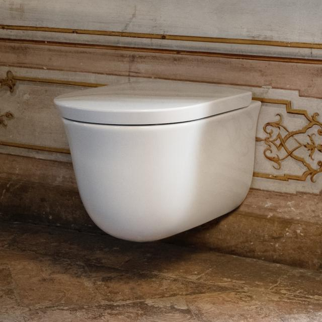 LAUFEN The New Classic wall-mounted washdown toilet, rimless white, with CleanCoat