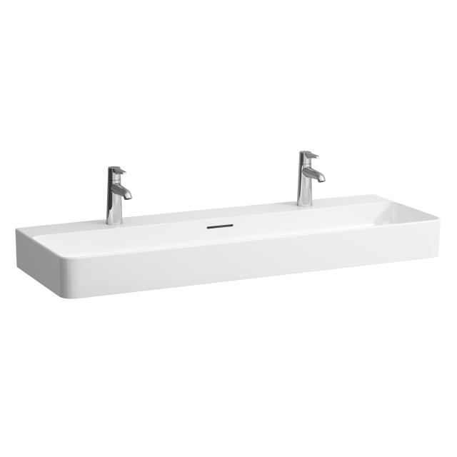 LAUFEN VAL double washbasin white, with Clean Coat, with 2 tap holes, ungrounded, with overflow