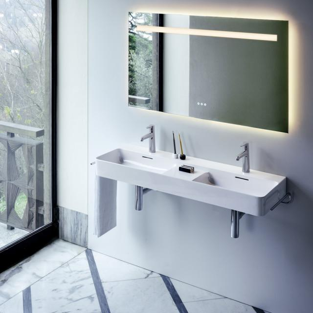 LAUFEN VAL double washbasin with shelf surface white, with Clean Coat, with 2 tap holes, with overflow