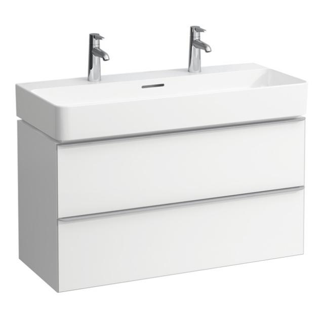 LAUFEN VAL double washbasin with Space vanity unit with 2 pull-out compartments front matt white / corpus matt white, WB white, with Clean Coat, with overflow