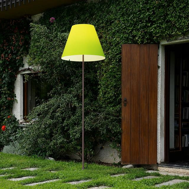 LUCEPLAN Grande Costanza Open Air floor lamp with fixed support in rust