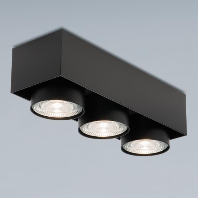 mawa LED surface-mounted spotlights, square, 3 heads, semi-recessed