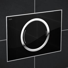 MEPA Zero flush plate with designer surface, with dual flush system black glass