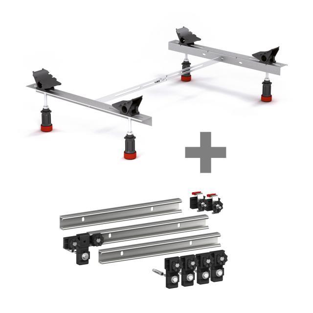 MEPA bath legs Type WSuni incl. set of 3 MEPA support rails